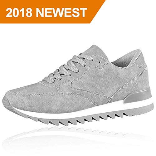 Agsdon Tennis Walking Shoes for Women, Comfort Fashion Sports Athletic Sneakers for Gym Exercise Grey 5.5