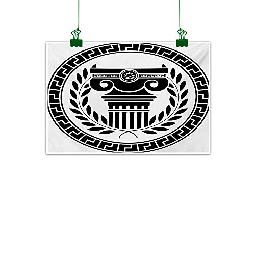 Mangooly Toga Party,Wall Decor Hellenic Column and Laurel Wreath Heraldic Symbol with Olive Branch Graphic Bathroom Wall Decor Black White W 40