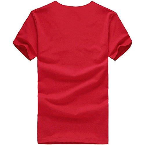 T Shirts Männer Herren DAY.LIN Männer Druck Tees Shirt Kurzarm T Shirt Bluse Herrenmode Print T-Shirt Rot