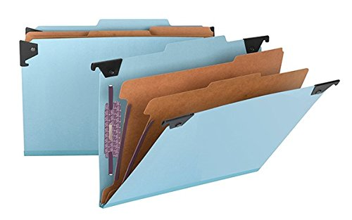 (Smead FasTab Hanging Pressboard Classification Folder with SafeSHIELD Fastener, 2 Dividers, 2/5-Cut Built-in Tab, Legal Size, Blue, 10 per Box (65165))