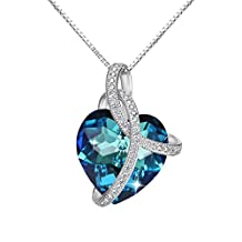 """EleQueen 925 Sterling Silver CZ """"Courageous Heart"""" Inspired Hook Drop Earrings Necklace Set Adorned with Swarovski® Crystals"""