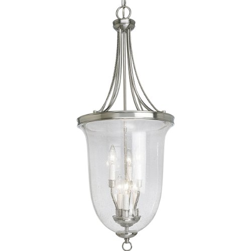 Six Light Foyer Lamp - Progress Lighting P3754-09 6-Light Foyer Pendant, Brushed Nickel