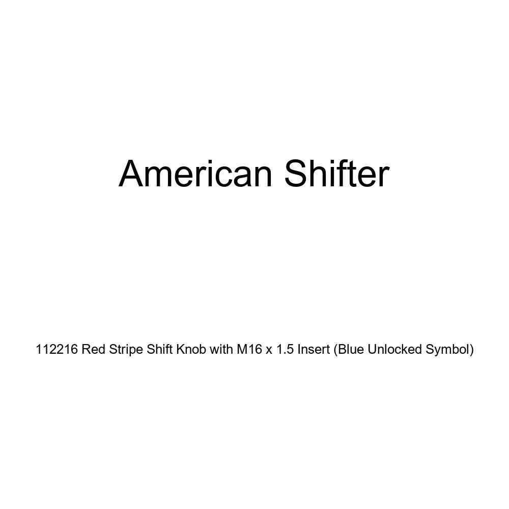 Blue Unlocked Symbol American Shifter 112216 Red Stripe Shift Knob with M16 x 1.5 Insert