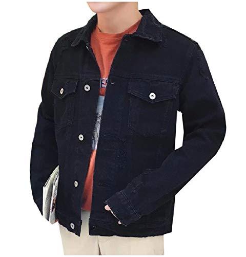 Down Turn Pocket Black Collar Denim Jacket RkBaoye Down Front Button Men Outwear wqASUpC