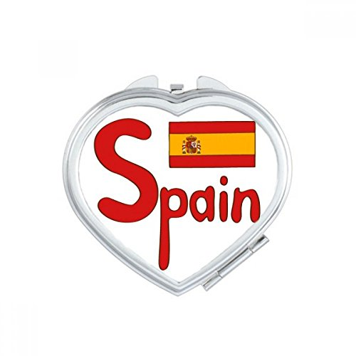 DIYthinker Spain National Flag Red Pattern Heart Compact Makeup Mirror Portable Cute Hand Pocket Mirrors Gift by DIYthinker