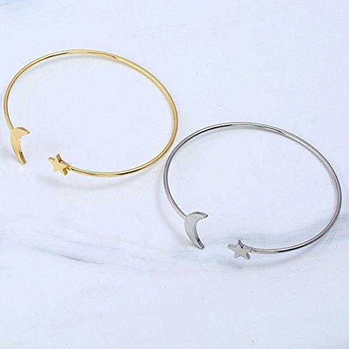 ... Armreif Frauen Silber Mond Vergoldet Armbänder Runde Kupfer Sterne  QiXuan Manschette Öffnen xgaUqI 2b954d495f