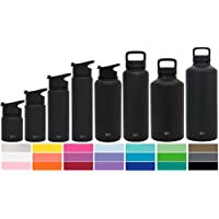 Simple Modern Summit Water Bottle + Extra Lid - Wide Mouth Vacuum Insulated 18/8 Stainless Steel Powder Coated - 8 Sizes, 24 Colors