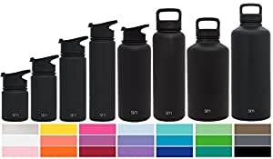 Simple Modern 10 oz Summit Water Bottle - Stainless Steel Hydro Kids Flask +2 Lids - Wide Mouth Double Wall Vacuum Insulated Reusable A Midnight Black Small Metal Coffee Leakproof Thermos - Black