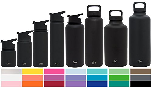 Simple Modern 10oz Summit Water Bottle + Extra Lid - Vacuum Insulated Stainless Steel Wide Mouth Hydro Travel Mug - Kids Double Wall Small Flask - Midnight Black