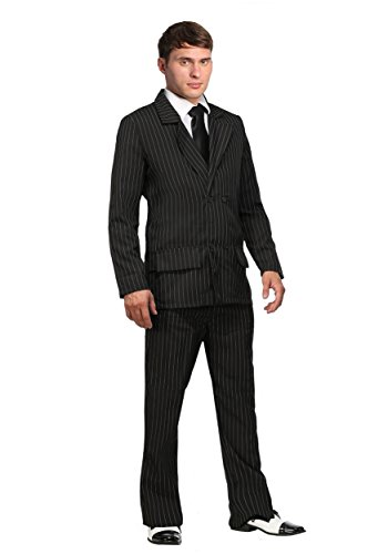 Deluxe Pin Stripe Gangster Costume Suit 1920s Gangster Costume Men Large Black]()