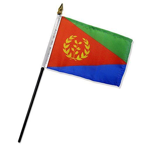 Quality Standard Flags One Dozen Eritrea Stick Flag, 4 by 6