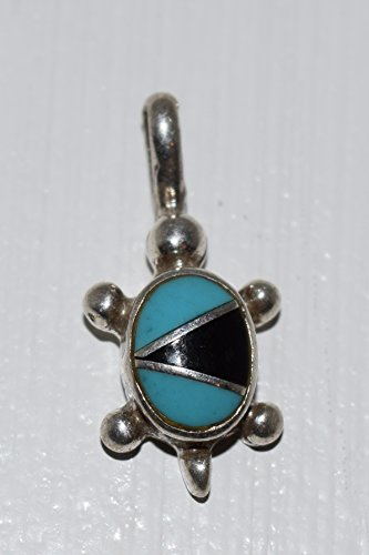 Jet and Turquoise Inlay Sterling Silver Turtle Pendant ()