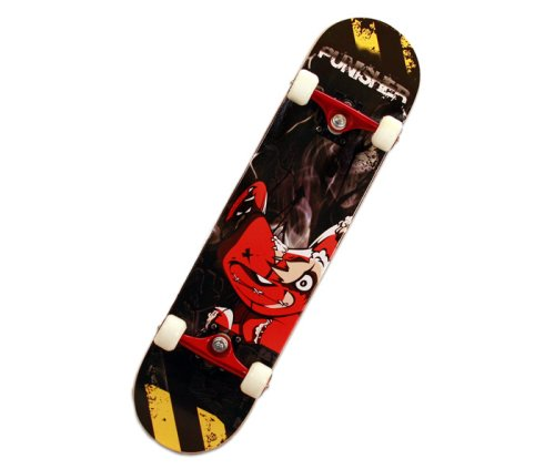 Punisher Teddy Complete Skateboard, Black, 31-Inch