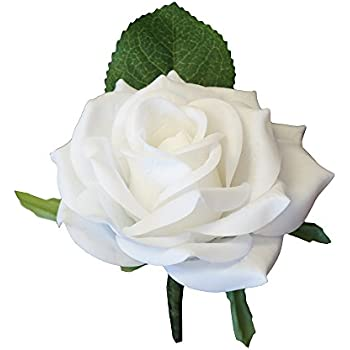 Amazon boutonniere white rose boutonniere with pin for prom large boutonniere live feel real touch white keep sake boutonnierepin included mightylinksfo