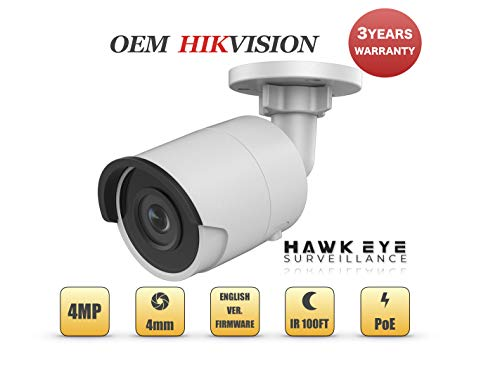 4MP PoE Security IP Camera – Compatible with Hikvision DS-2CD2043G0-I Mini Bullet EXIR Night Vision 4mm Fixed Lens H.265+ 3 Year Warranty
