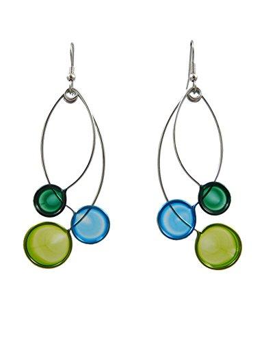Modernist Dangle - Kinetic Sculpture Inspired Stainless Steel Art Earrings, Blue Green Trio