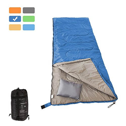 RUBEDER Sleeping Bag - Lightweight Portable, Waterproof, Comfort with Compression Sack - Great for 3 Season Traveling,Camping,Hiking Sleeping Bags (Dark Blue/Left Zip, Envelope)