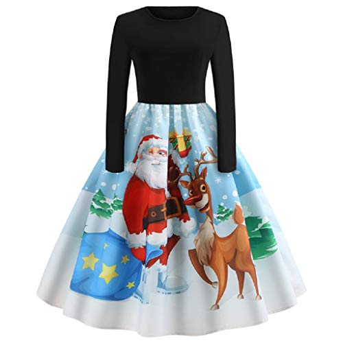XMNDS Women's Christmas Santa Claus Print Pullover Flared A Line Dress ()