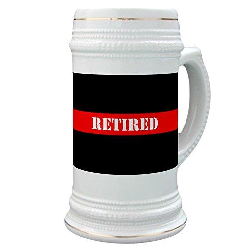 (CafePress - Retired Firefighter - Beer Stein, 22 oz. Ceramic Beer Mug with Gold)