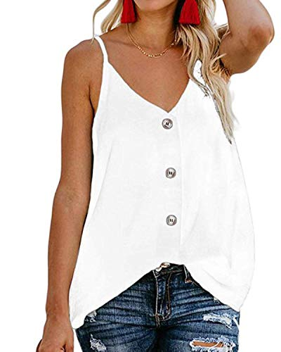 (BBYES Women's Button Down V Neck Strappy Tank Tops Loose Casual Sleeveless Shirts Blouses White 2XL)