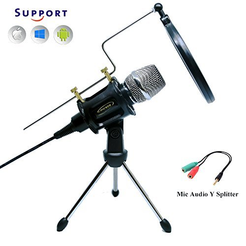 G-Touker Pro Condenser Microphone, Microphone sets for iphone, Include desktop mic Tripod Stand with pop filter and shock mount for Recording, podcasting, Youtobe, Facebook,Skype (black)