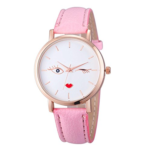 (LtrottedJ Fashion Watches,Leather Stainless Men,women Steel Analog Quartz Wrist Watch (Hot Pink))