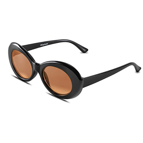Bold Retro Oval Mod Thick Frame Sunglasses,Wophain Round Lens Clout Goggles Eyewear Supreme Glasses Cool Sunglasses (Black ()