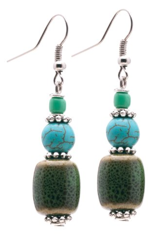 Maisha Beautiful African Fair Trade Turquoise Stone and Olive Green Ceramic Earrings