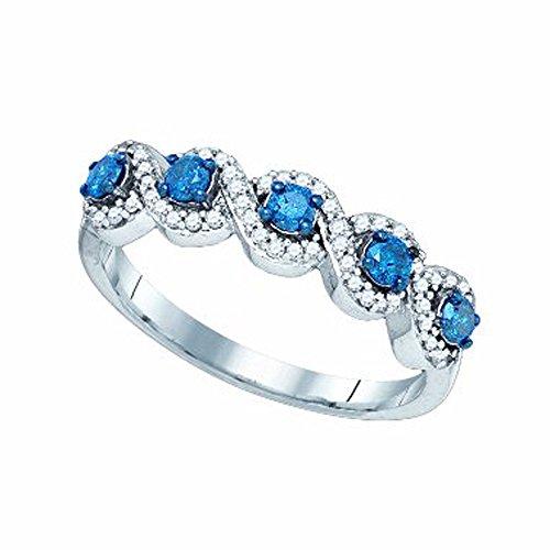 1/2 Carat (ctw) 10K White Gold Blue & White Round Diamond Ladies Swirl Cocktail Right Hand Ring 1/2 CT ()