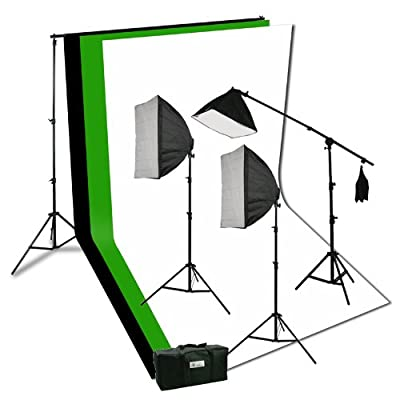 ePhoto Photography Video Studio Portrait Softbox Continuous Photo Video Lighting Kit with Three Softbox,background stand, 10 x 10 Black White Green Muslin, and Carrying Case H9004SB2-1010BWG from Ephotoinc