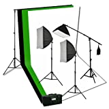 ePhoto Photography Video Studio Portrait Softbox Continuous Photo Video Lighting Kit with Three Softbox,background stand, 10 x 10 Black White Green Muslin, and Carrying Case H9004SB2-1010BWG