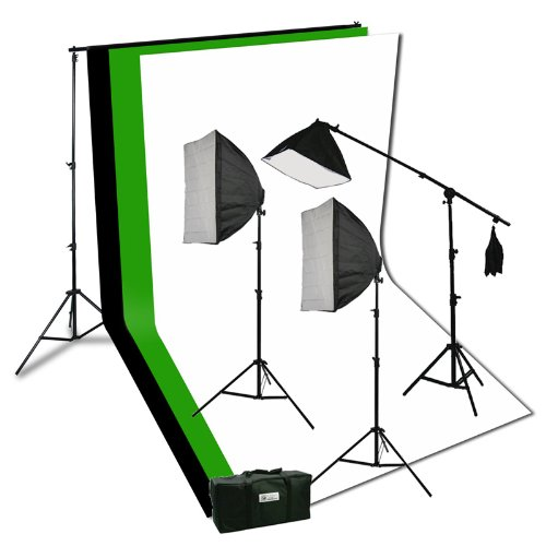 Ephoto Photography Video - ePhoto Photography Video Studio Portrait Softbox Continuous Photo Video Lighting Kit with Three Softbox,background stand, 10 x 10 Black White Green Muslin, and Carrying Case H9004SB2-1010BWG