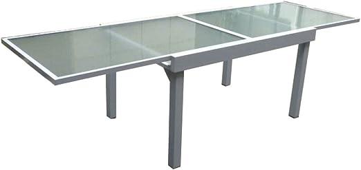 Garden Pleasure - Mesa extensible para jardín o terraza (135/270 x 90 cm, aluminio y cristal): Amazon.es: Jardín