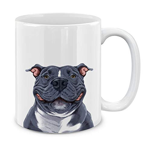 MUGBREW Cute Smiling Blue Pit Bull Dog Ceramic Coffee Gift Mug Tea Cup, 11 OZ