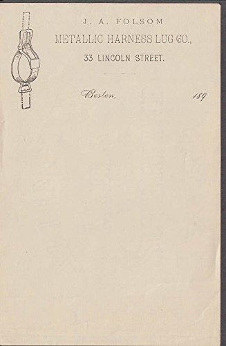 J A Folsom Metallic Harness Lug Co unused invoice Boston 1890s