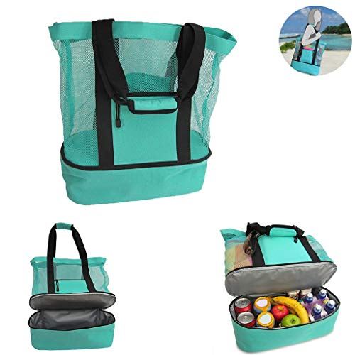 Large Insulated Bag for Men Women, Lunch Bags Box for Outdoor Picnic Camping,Beach Day or Travel, Grocery Shopping Storage Bag for Meals and Snacks, Keeps Food Hot/Cold (Green)