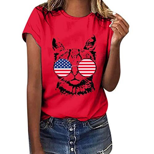 Tsmile Women Girls Short Sleeve Tshirt American Flag Cat Print Tees Shirt Blouse Casual Loose Top Plus ()