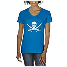Artix Happy Skull Pirate with Swords Women V-Neck T-Shirt Tee Clothes