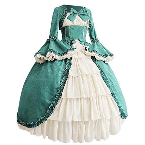 Miuye yuren Women's Victorian Fancy Dress Gothic Pageant Dress Retro Medieval Cosplay Dresses Renaissance Costumes (XL, Blue)