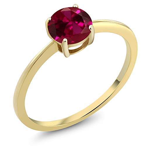 - Gem Stone King 10K Yellow Gold 1.00 Ct Round Red Created Ruby Gold Solitaire Engagement Ring (Size 5)