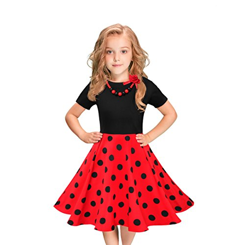 LEEGEEL Girls Short Sleeves Round Neck Swing Rockabilly Dress With Necklace (9-10 Years, Red/Black Polka -