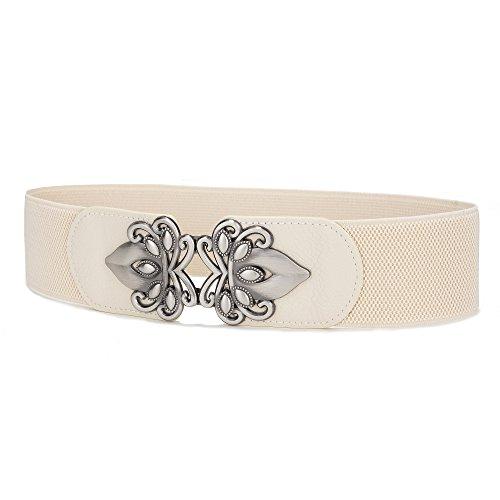 Viishow Retro Wide Metal Interlock Buckle Womens Elastic Waist Belt Cinch