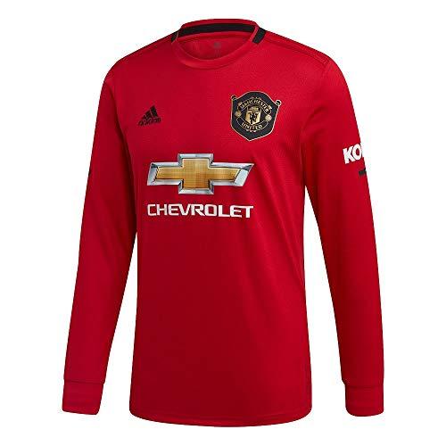 adidas 2019-2020 Man Utd Home Long Sleeve Football Soccer T-Shirt Jersey