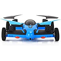 SYR-Flying Quadcopter Remote Control Car and Drone with Battery and LEDs 4CH 2.4GHz four- axis 6 Axis Gyro Drones RC 360 degree roll Helicopter-Blue