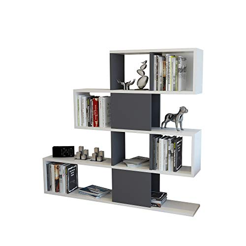 Decorotika Karlin 3.6' Room Divider Storage Standing Shelving Unit/Bookcase for Small Living Room (Anthracite)