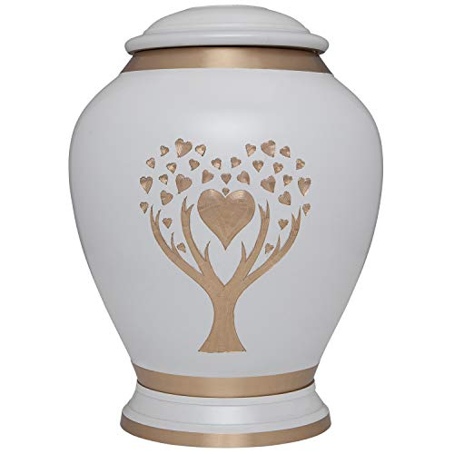 White Cremation Urn with Tree of Life by Liliane Memorials – Urns for Human Ashes Remains – Brass – Suitable for Funeral Cemetery Burial or Niche – Large Size for Adults up to 200 lbs – Love Tree