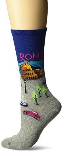 Hot Sox Women's Travel Series Novelty Fashion Crew, Rome (Dark Blue), Shoe Size: 4-10