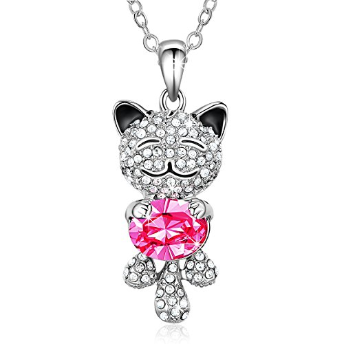 Smiling Lucky Cat Necklace NinaMaid Gold Plated Animal Jewelry Oval Crystal Pendant for Women 18 inch Pink (Animal Jewelry Necklace)