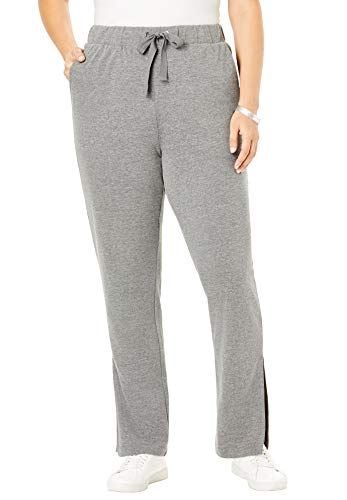 Roamans Women's Plus Size Flared French Terry Pant - Medium Heather Grey, 34/36 ()