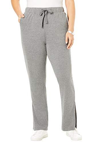 Roamans Women's Plus Size Flared French Terry Pant - Medium Heather Grey, 34/36